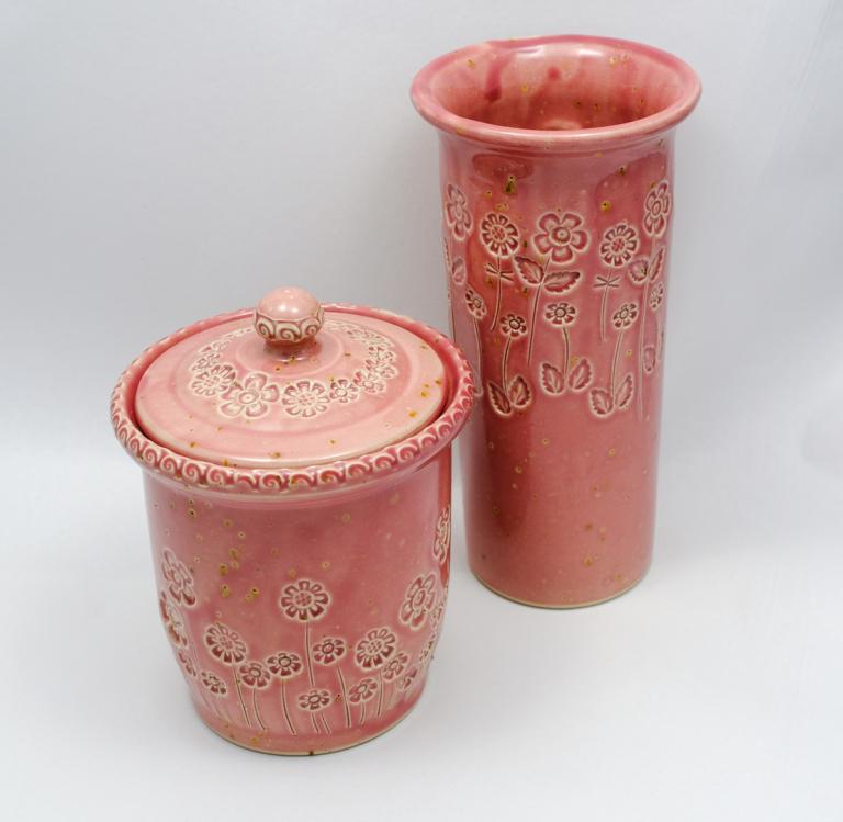 """Bonbonnière et vase """"Framboise"""""""